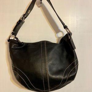 Coach Black with White Stitching Hobo Handbag